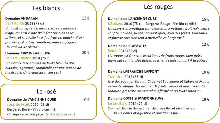 Carte des vins 2
